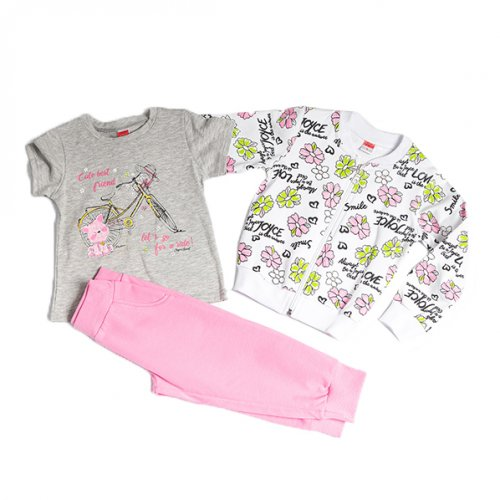 Joyce λευκό σετ ζακέτα μπλούζα παντελόνι για κορίτσι 211100