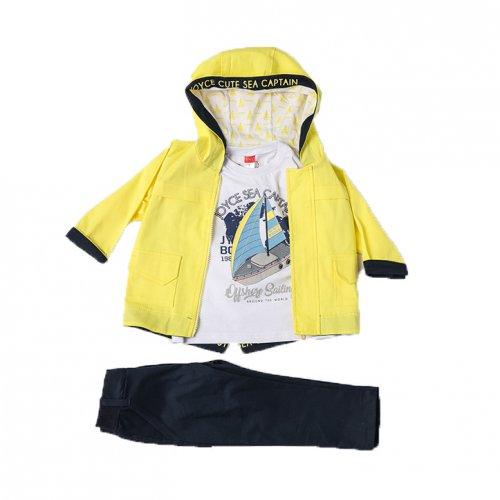Joyce κίτρινο παιδικό σετ μπουφάν μπλούζα παντελόνι για αγόρι 211300Y