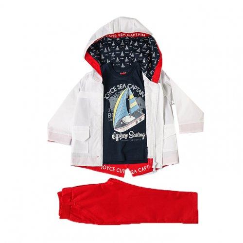 Joyce κόκκινο παιδικό σετ μπουφάν μπλούζα παντελόνι για αγόρι 211300V