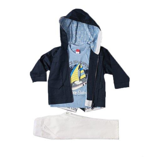 Joyce μπλε παιδικό σετ μπουφάν μπλούζα παντελόνι για αγόρι 211300
