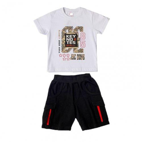 Joyce λευκό σετ μπλουζάκι βερμούδα για αγόρια 211367L