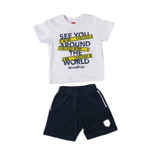 Joyce λευκό σετ μπλουζάκι βερμούδα για αγόρι 211373