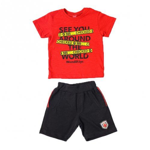 Joyce κόκκινο σετ μπλουζάκι βερμούδα για αγόρι 211373U