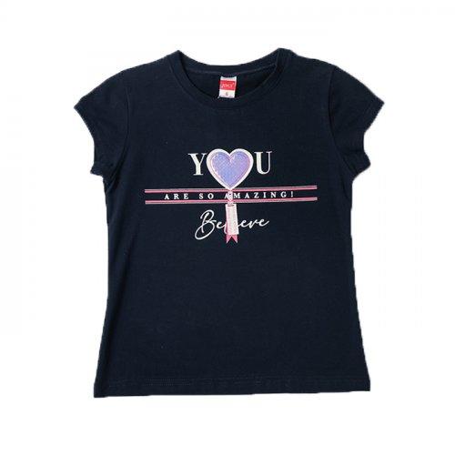 Joyce μπλε t-shirt με τύπωμα για κορίτσια 211594S