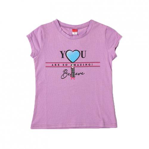 Joyce μωβ t-shirt με τύπωμα για κορίτσια 211594M