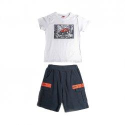 Joyce λευκό σετ μπλουζάκι βερμούδα για αγόρι 211729F