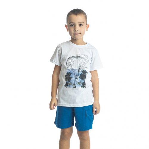 Joyce λευκό σετ μπλουζάκι βερμούδα για αγόρι 211754R