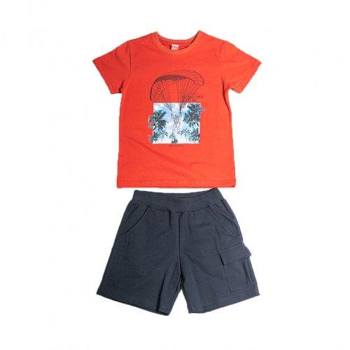 Joyce κόκκινο σετ μπλουζάκι βερμούδα για αγόρι 211754J
