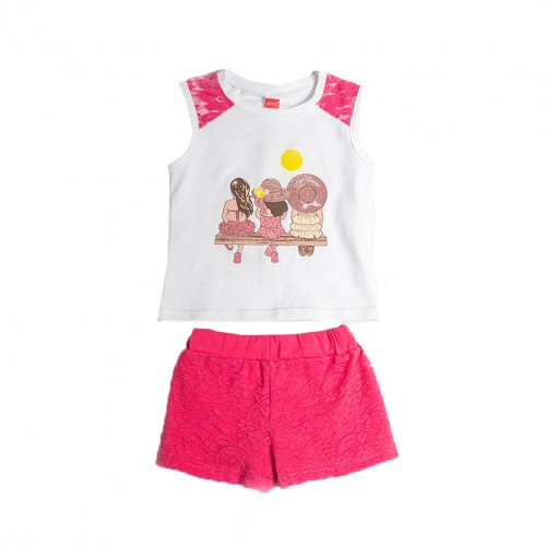 Joyce φούξια σετ μπλούζακι σορτσ για κορίτσι 211135