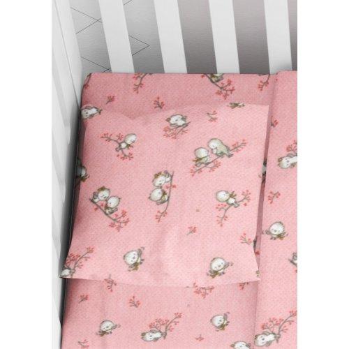 DIMcol ΜΑΞΙΛΑΡΟΘΗΚΗ ΕΜΠΡΙΜΕ ΒΡΕΦ Flannel Cotton 100% 35Χ45 Birds 15 Pink 1915857708601579