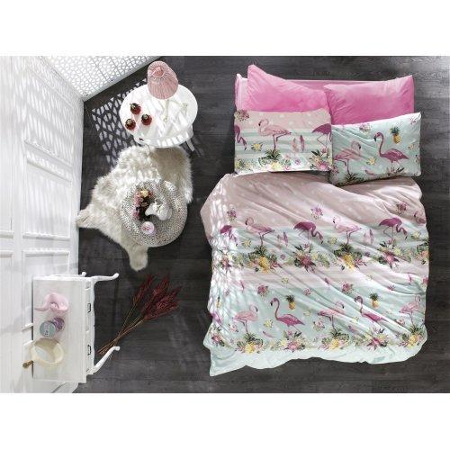 DIMcol ΠΑΠΛΩΜΑΤΟΘΗΚΗ ΕΜΠΡΙΜΕ ΠΑΙΔ Flannel Cotton 100% 160Χ240 Flamingo 294 Pink-Green 1925755225129455