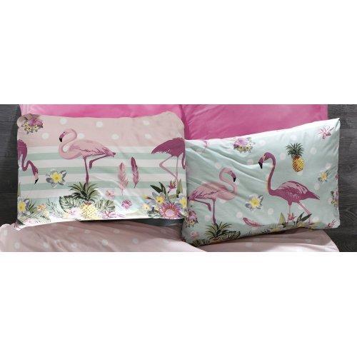 DIMcol ΜΑΞΙΛΑΡΟΘΗΚΗ ΕΜΠΡΙΜΕ ΕΝΗΛ Flannel Cotton 100% 50Χ70 Flamingo 294 Pink-Green 1935853125129455