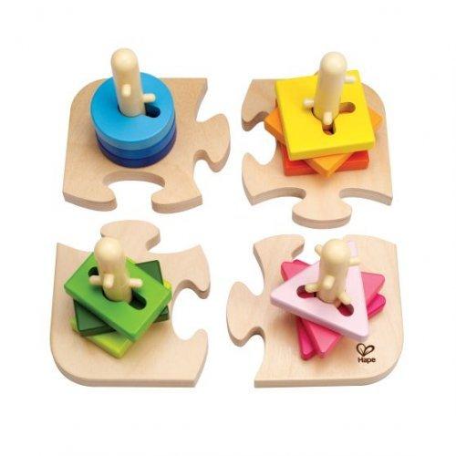Hape Creative Peg Puzzle - Δημιουργικό Παζλ Με Πολύχρωμα Διαφορετικά Σχήματα & Πασσάλους - 16Τεμ. E0411A