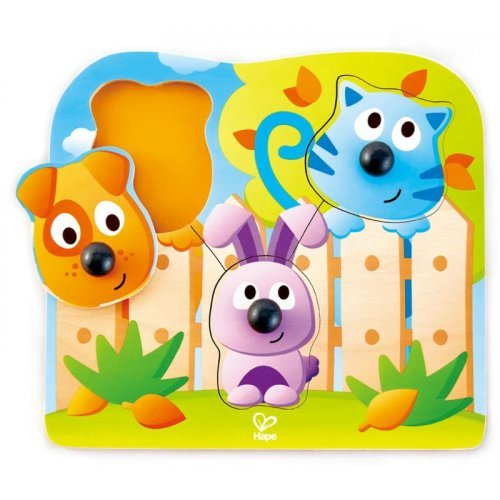 Hape Big Nose Pet Puzzle - Παζλ Από Ζωάκια Με Μεγάλες Μυτούλες Για Λαβή - 4Τεμ. E1309A