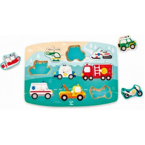 Hape Emergency Peg Puzzle - Παζλ Με Οχήματα Έκτακτης Ανάγκης - 10Τεμ. E1406A