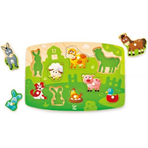 Hape Farmyard Peg Puzzle - Πολύχρωμο Παζλ Με Ζωάκια - 10Τεμ. E1408A