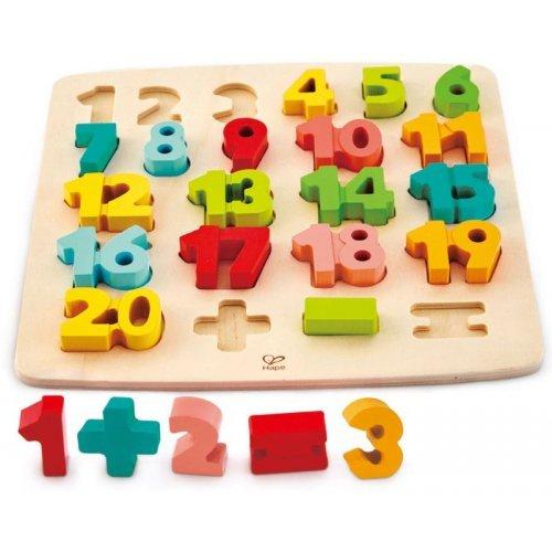 Hape Chunky Number Puzzle - Πάζλ Μεγάλων Αριθμών Από Το 1 Μέχρι Το 20 Με Σύμβολα Για Απλές Πράξεις - 24Τεμ. E1550A