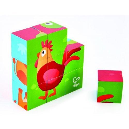 Hape Happy Puzzles Farm Animal Block - Παζλ Κύβων Τα Ζώα Της Φάρμας - 12 Τεμ. E1618A
