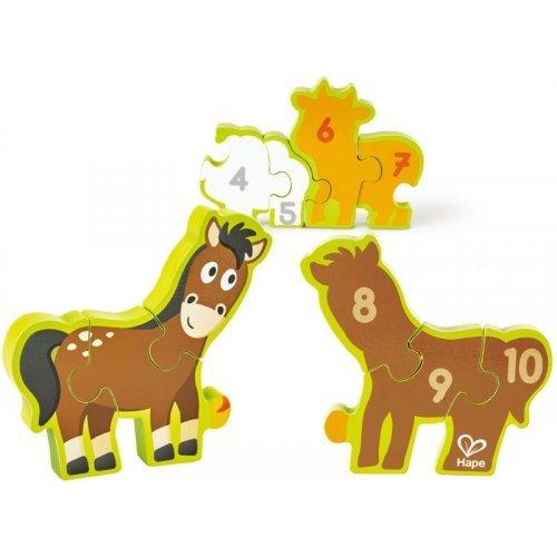 Hape Numbers & Farm Animals - Παζλ Αριθμών και Ζώων 10Τεμ. E1628