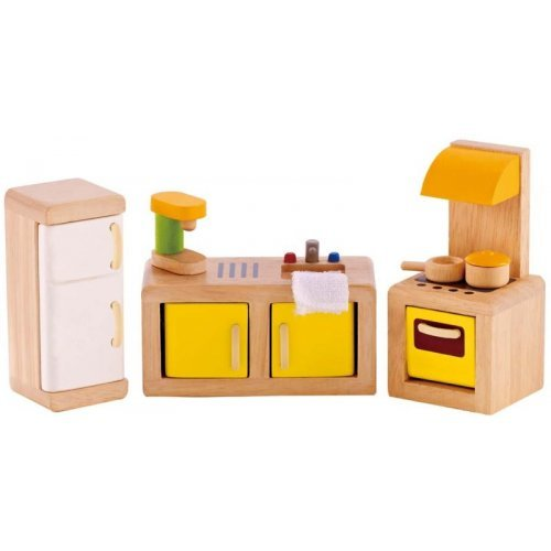 Hape Happy Family Kitchen - Έπιπλα Κουζίνας - 7 Τεμ. E3453A