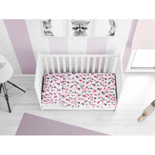 DIMcol ΠΑΠΛΩΜΑ ΕΜΠΡΙΜΕ ΒΡΕΦ Cotton 100% 120Χ160 Hearts 12 Grey-Pink 1915917607801289