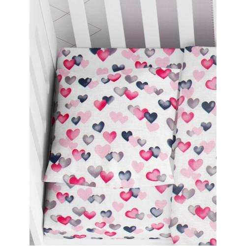 DIMcol ΜΑΞΙΛΑΡΟΘΗΚΗ ΕΜΠΡΙΜΕ ΒΡΕΦ Cotton 100% 35Χ45 Hearts 12 Grey-Pink 1915817707801289