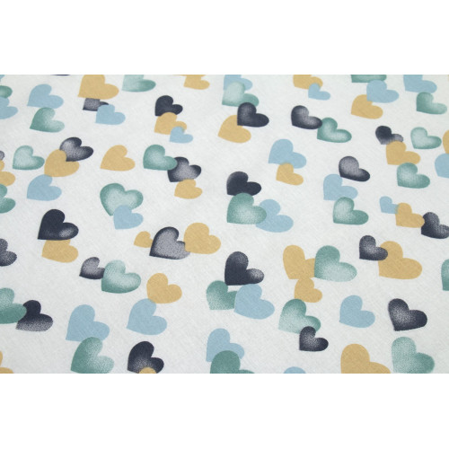 DIMcol ΣΕΝΤΟΝΑΚΙ ΛΙΚΝΟΥ ΒΡΕΦ Cotton 100% 80Χ110 Hearts 11 Grey-Green 1914413707801188