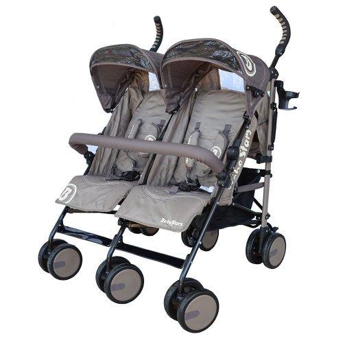 Παιδικό καρότσι Διδύμων Bebe Stars Twin Lux Brown 7801-182